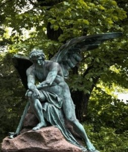 A Lonely Angel guarding a grave on Vienna's Cemetery, 1800's