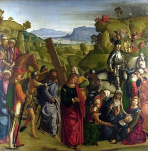 Bpccaccio Boccacino, 1501, Christ carrying the cross and the virgin Mary swooning.